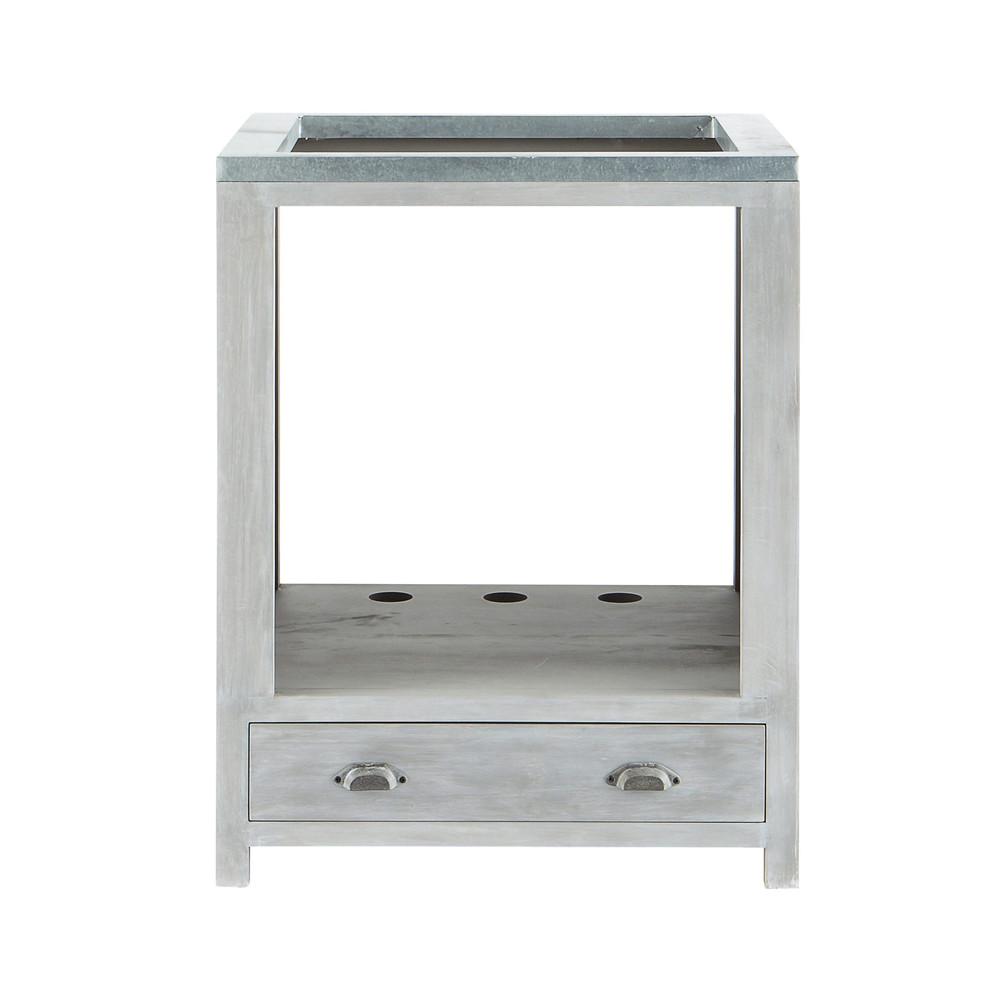 Mobile basso da cucina grigio in acacia per forno l 66 cm for Mobile basso da cucina