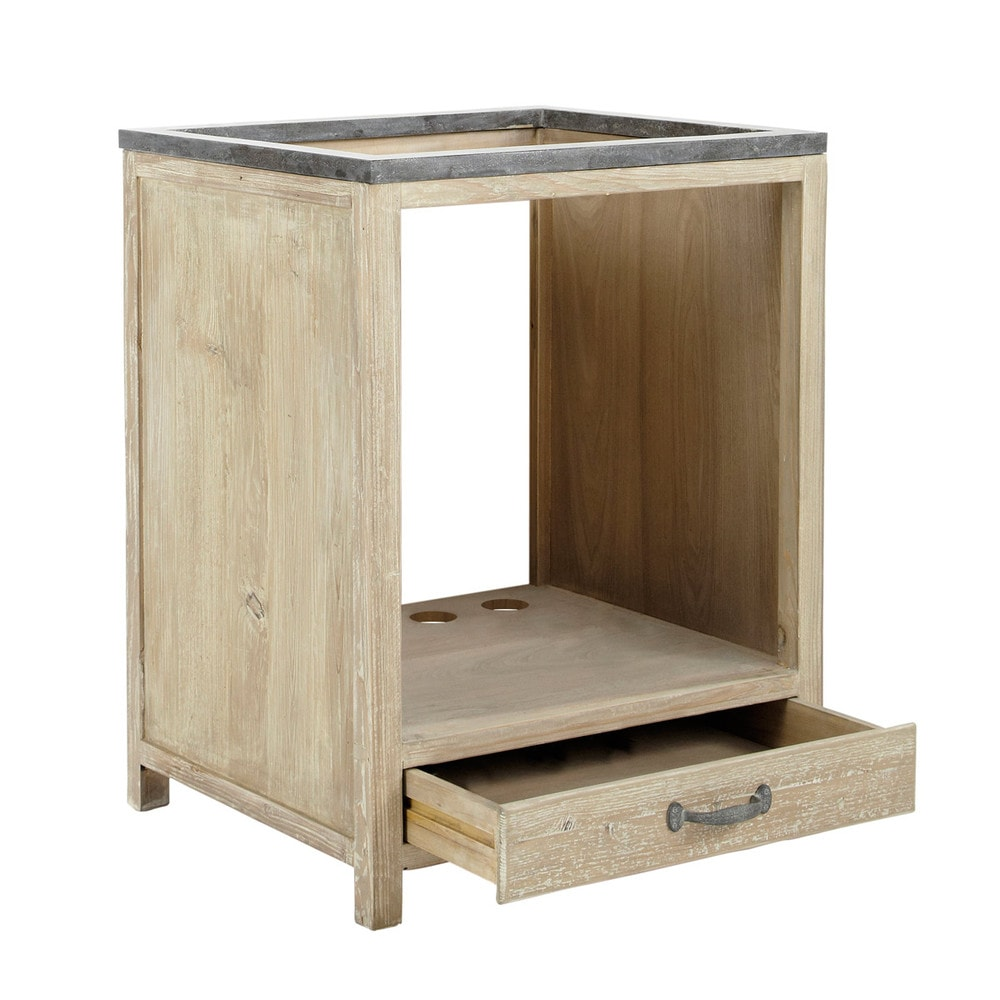 mobile basso da cucina in legno riciclato per forno l 64 cm ... - Mobili Da Incasso Per Cucina