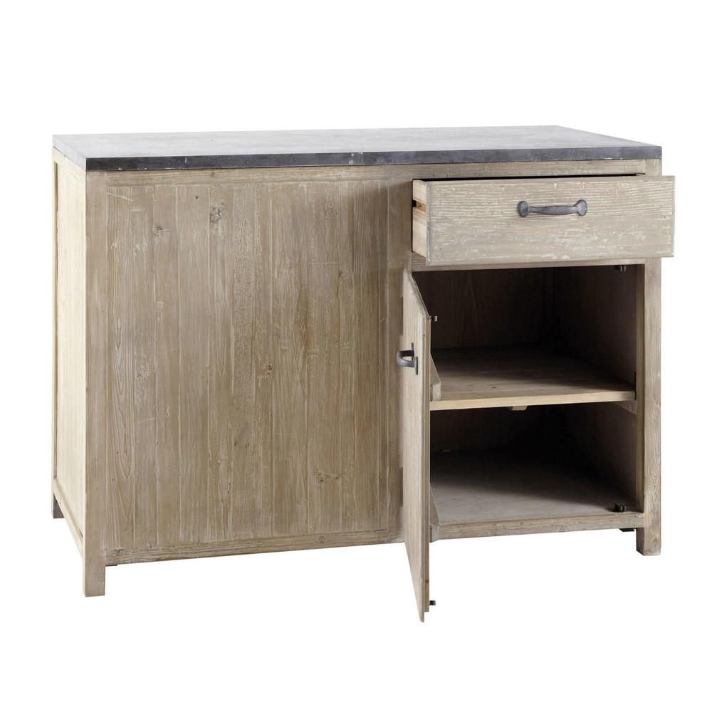 Mobile basso da cucina in pino riciclato L 120 Copenhague  Maisons du Monde