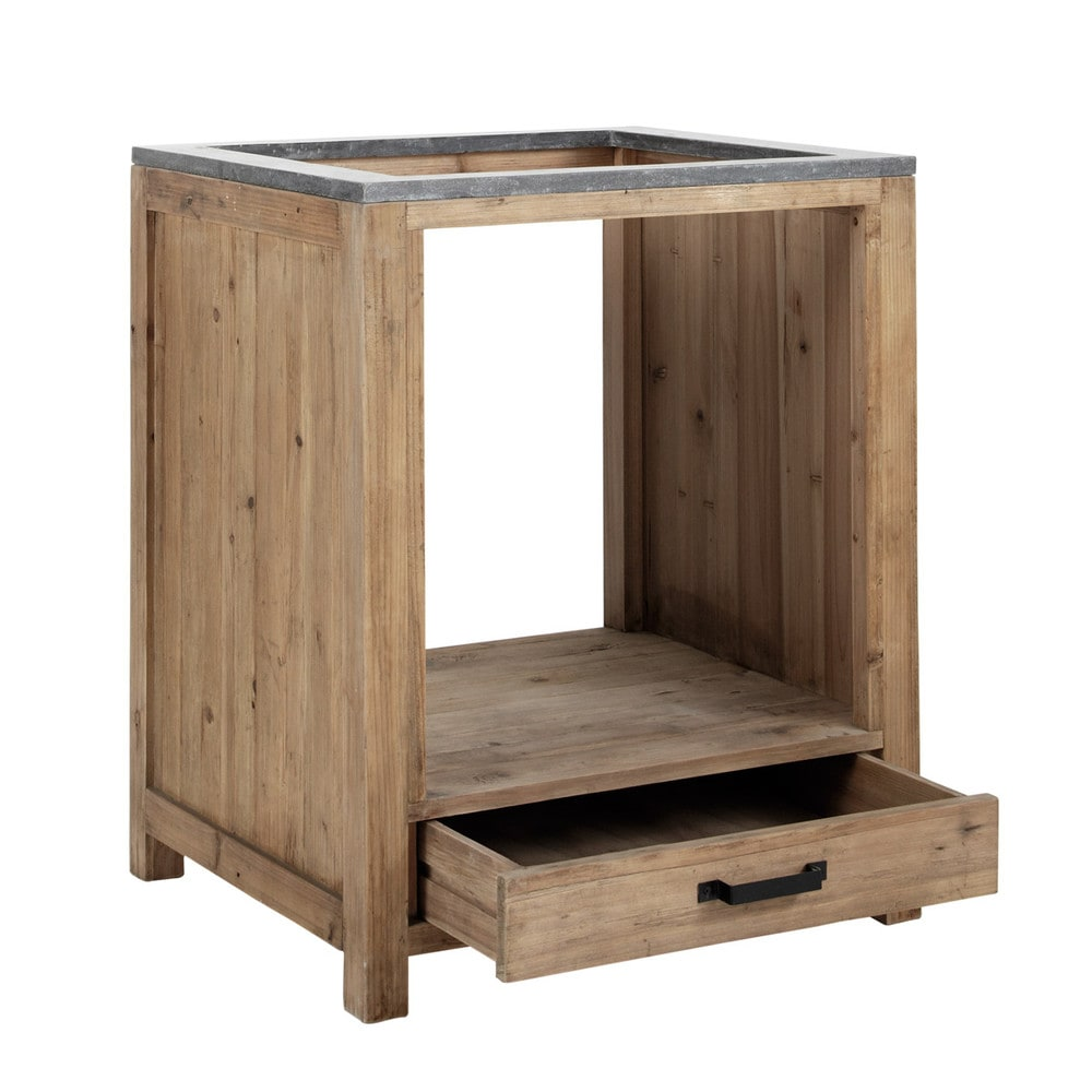 Mobile basso da cucina in pino riciclato per forno L70 Pagnol ...