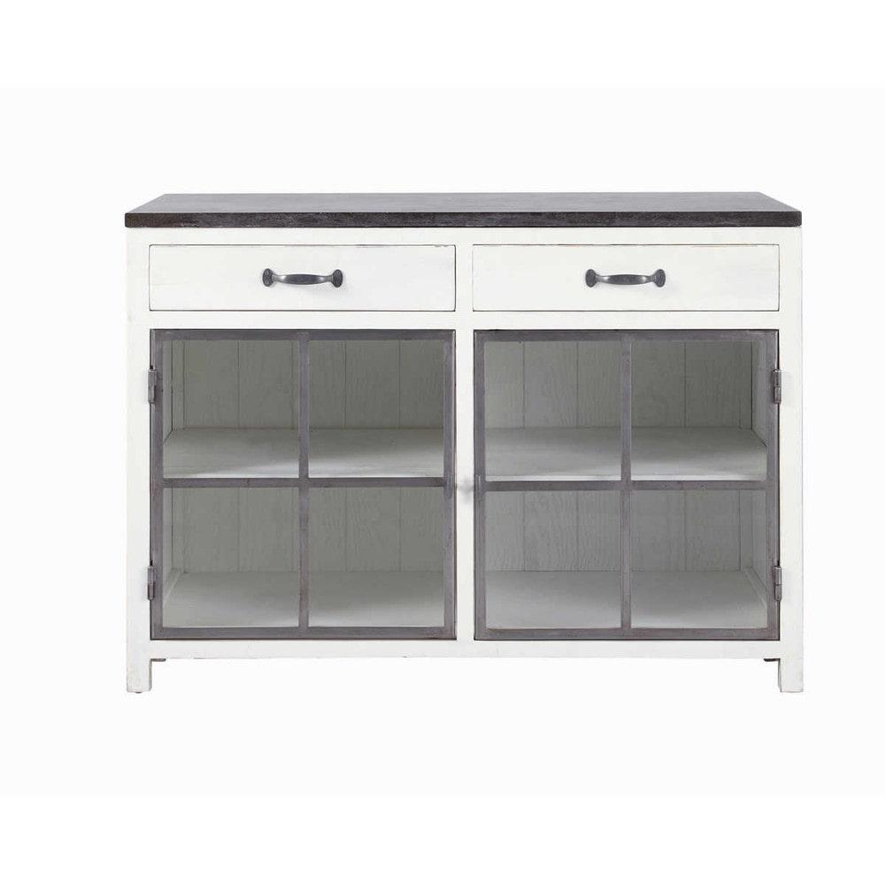Mobile basso vetrato bianco da cucina in legno riciclato e pietra L 120 cm Ostende  Maisons du ...