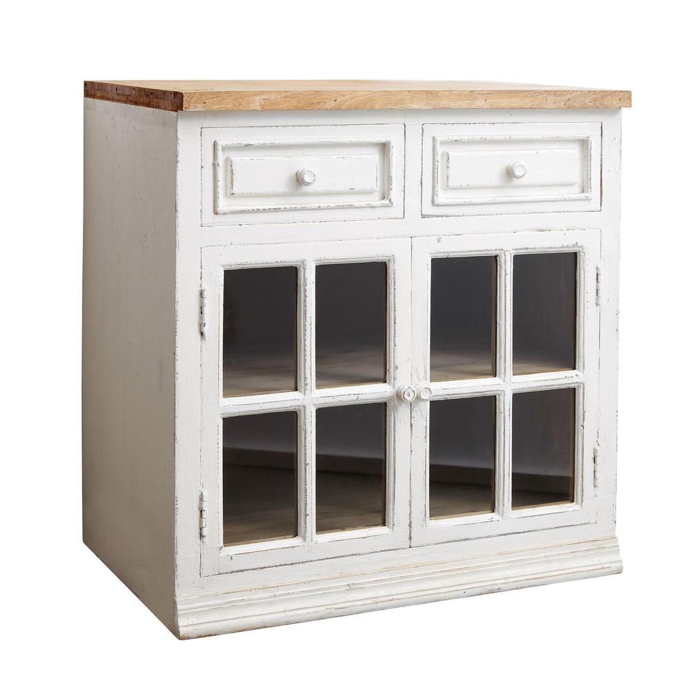 Mobile basso vetrato bianco da cucina in mango l 80 cm - Cucina a mobile ...
