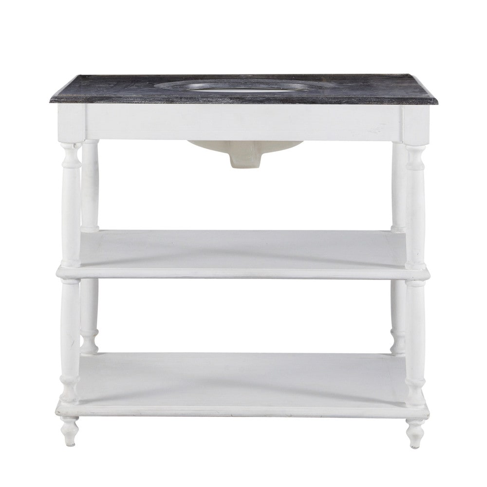 Mobile bianco in massello di legno e pietra per lavandino L 90 cm ...