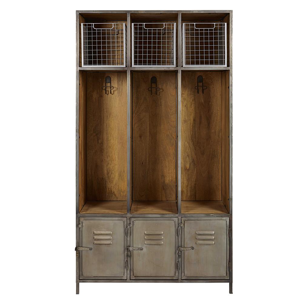 Mobile da ingresso a 3 ante grigio in metallo e legno - Mobili ingresso maison du monde ...