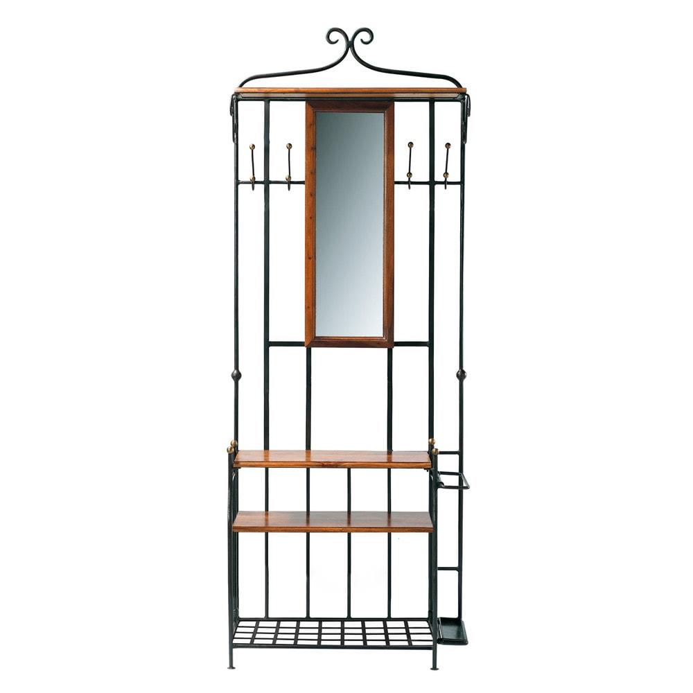 Mobile da ingresso in massello di legno di sheesham con for Specchio da parete maison du monde