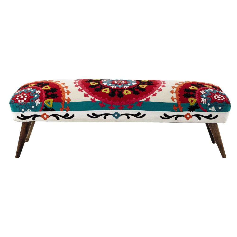 mobile fondoletto multicolore ricamato in cotone l 119 cm bohemian maisons du monde. Black Bedroom Furniture Sets. Home Design Ideas