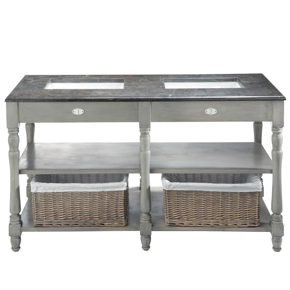 Mobile grigio in betulla e marmo per doppio lavandino l for Coiffeuse salle de bain