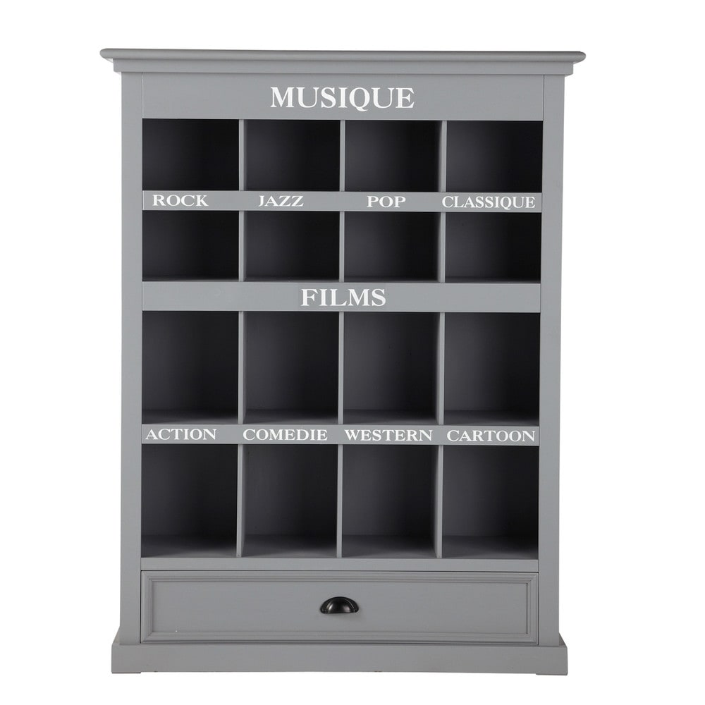 Mobile porta cd dvd in legno grigio newport newport maisons du monde - Maison du monde mobile tv ...