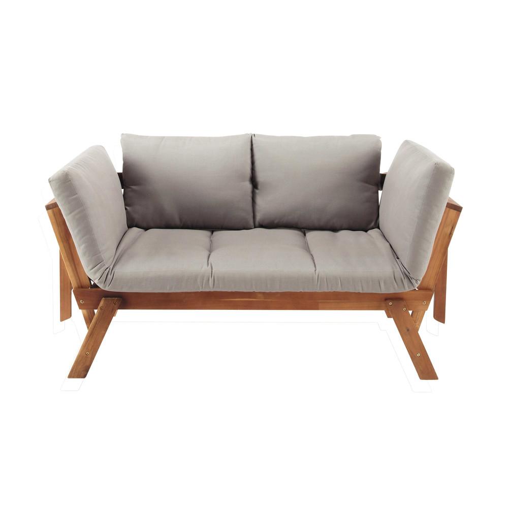 Modulare 3 sitzer gartenpolsterbank aus akazienholz relax - Coussin pour banquette de jardin ...