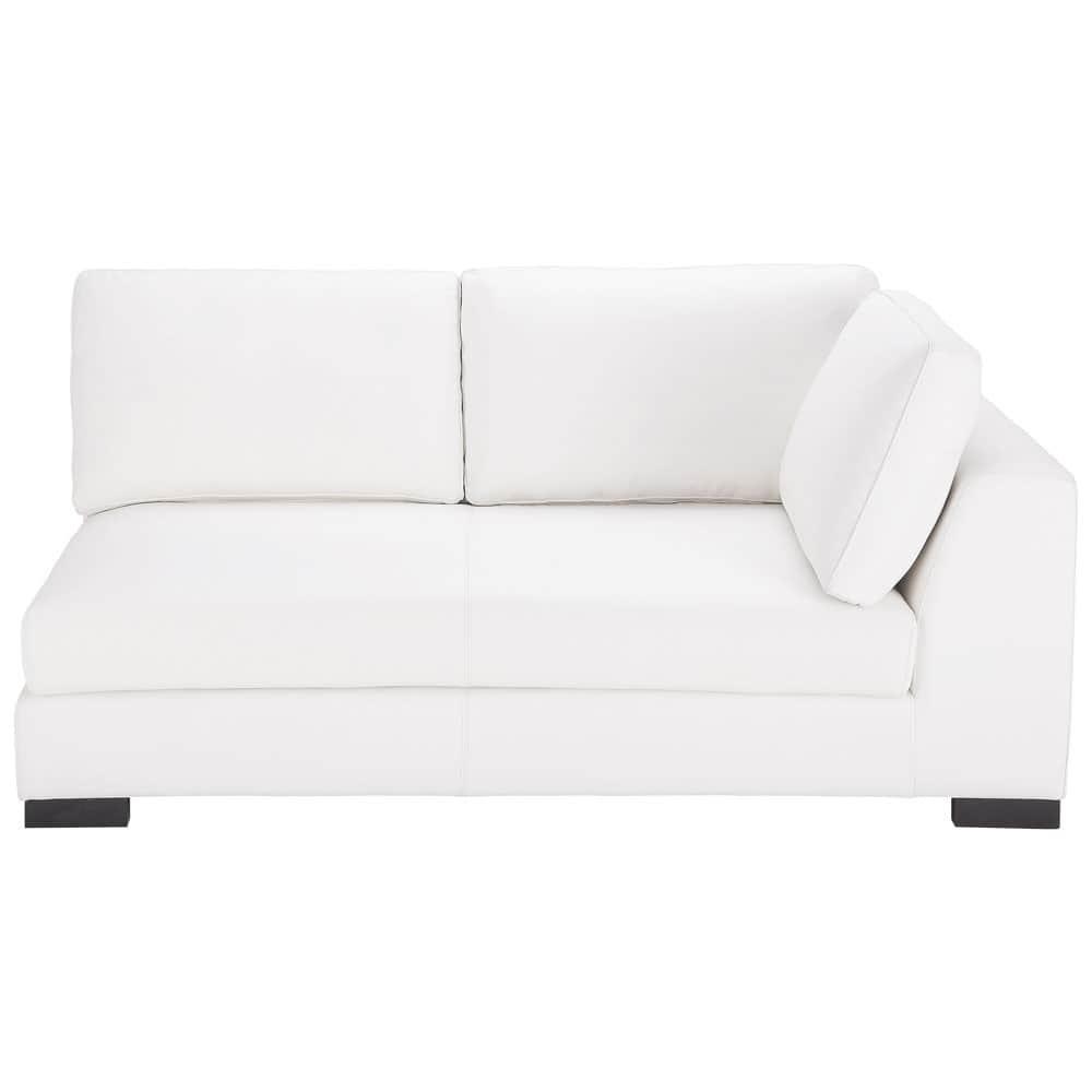 modulares ausziehbares ledersofa mit armlehne rechts wei terence maisons du monde. Black Bedroom Furniture Sets. Home Design Ideas