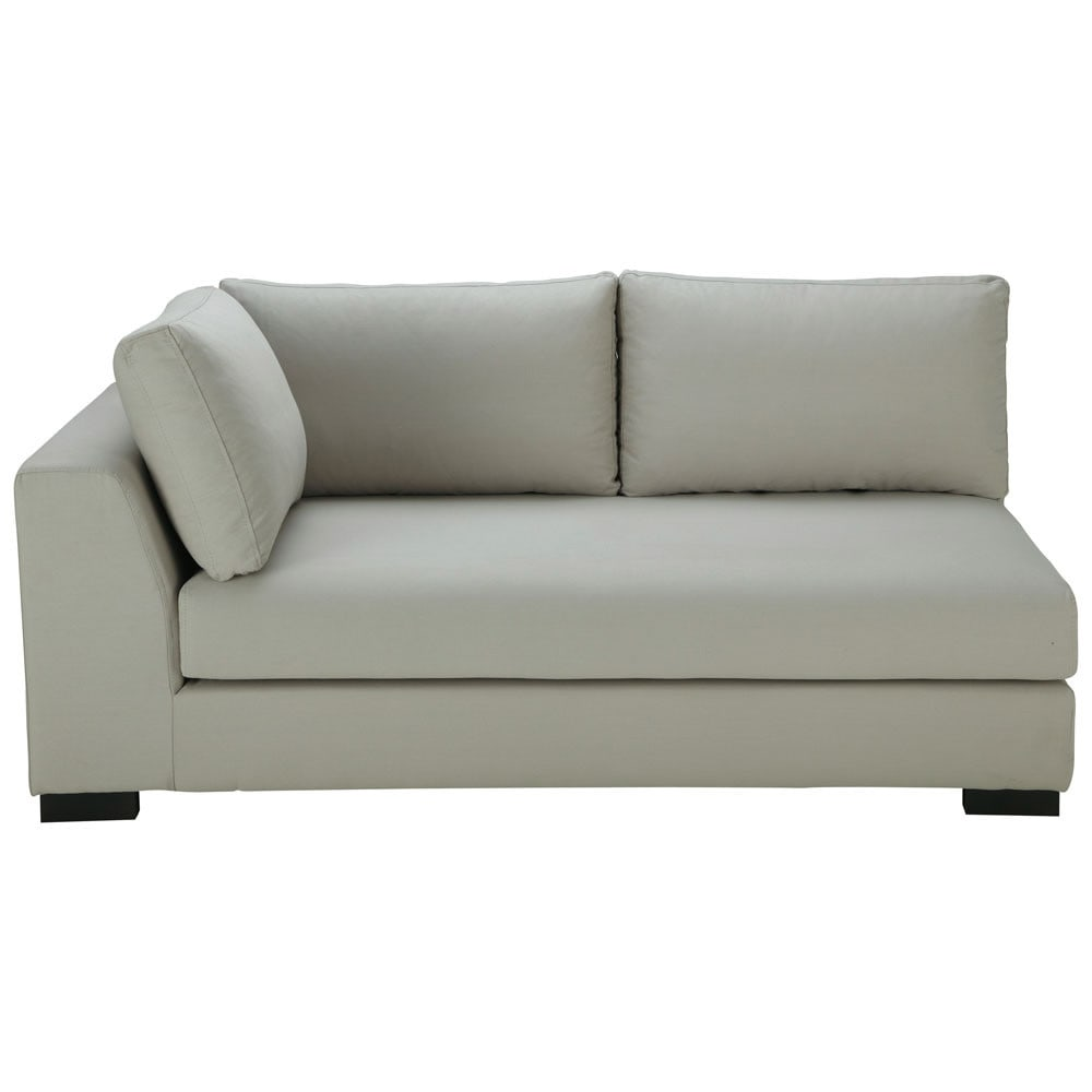 modulares sofa mit linker armlehne aus baumwolle hellgrau terence maisons du monde. Black Bedroom Furniture Sets. Home Design Ideas