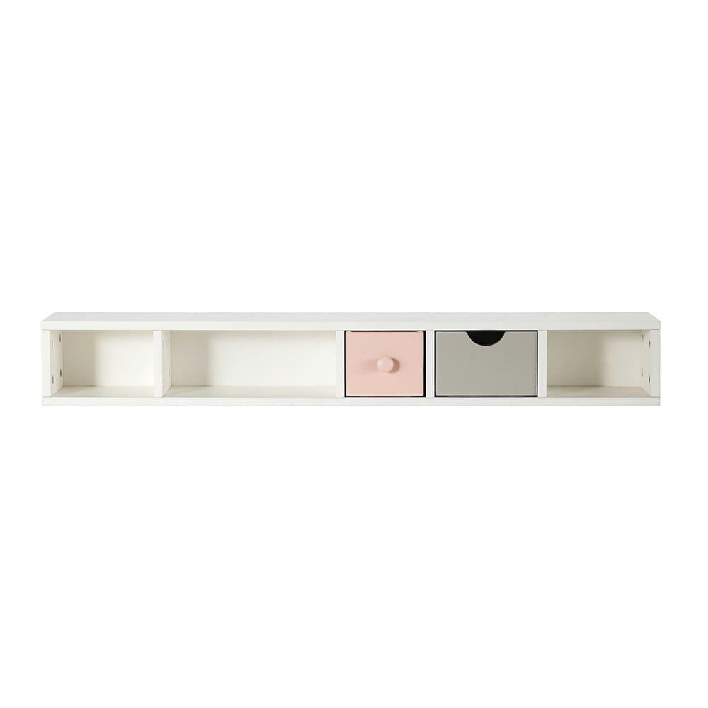 Module de rangement pour bureau en bois blanc l 110 cm - Bureau en bois blanc ...