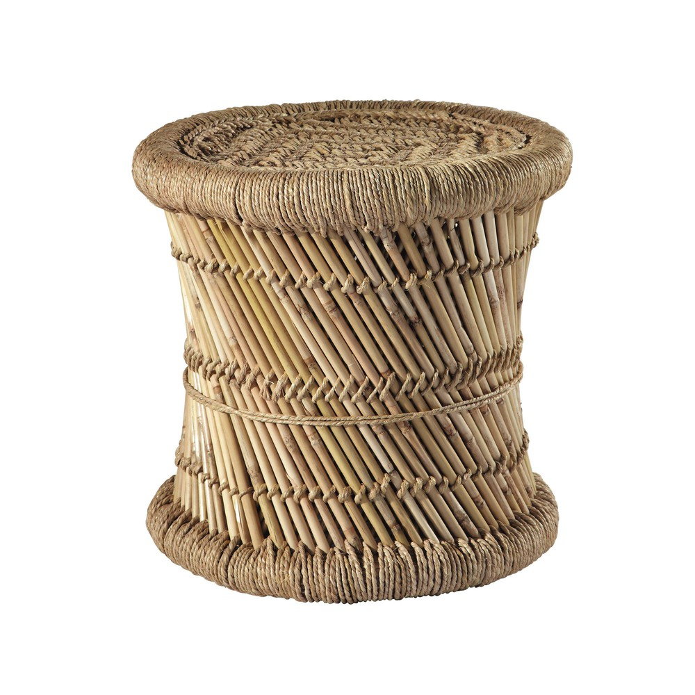 mogale bamboo and natural fibre wicker stool maisons du. Black Bedroom Furniture Sets. Home Design Ideas