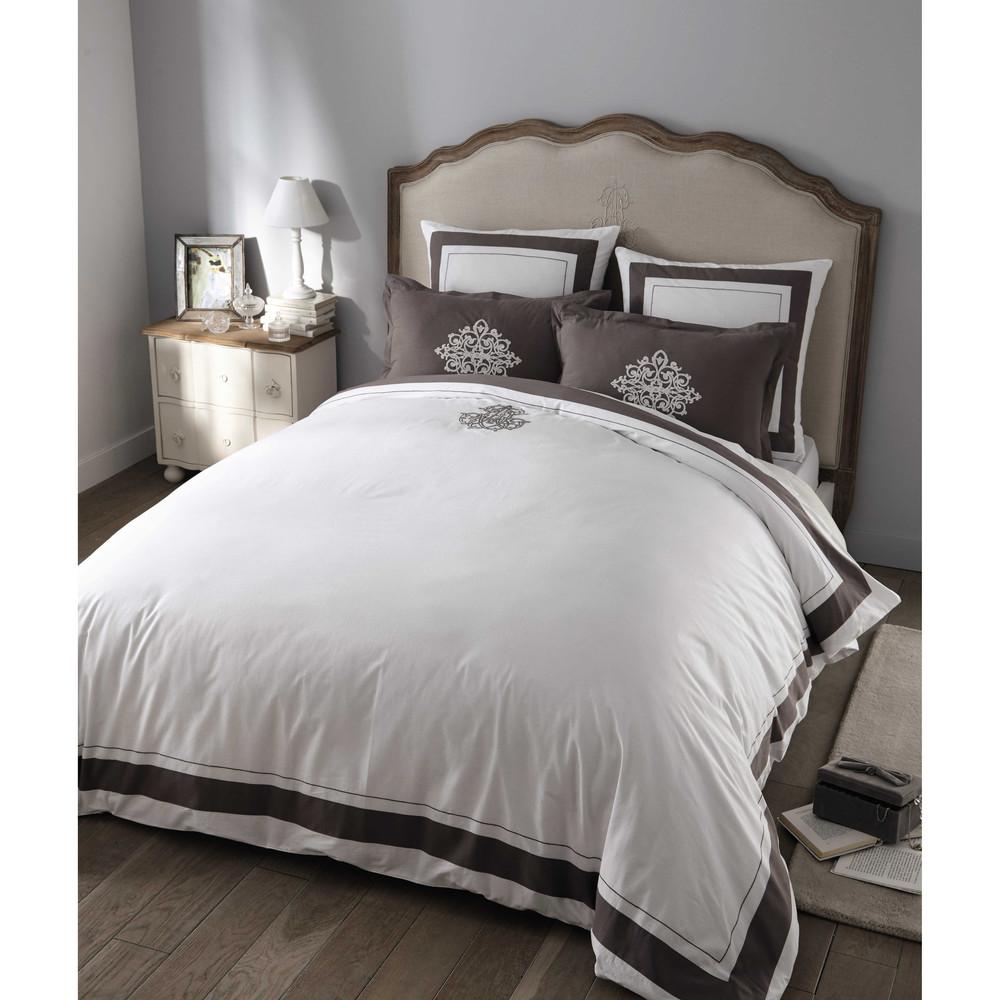 Montesquieu cotton king size bedding set in white 220 x - Lit nicolas maison du monde ...