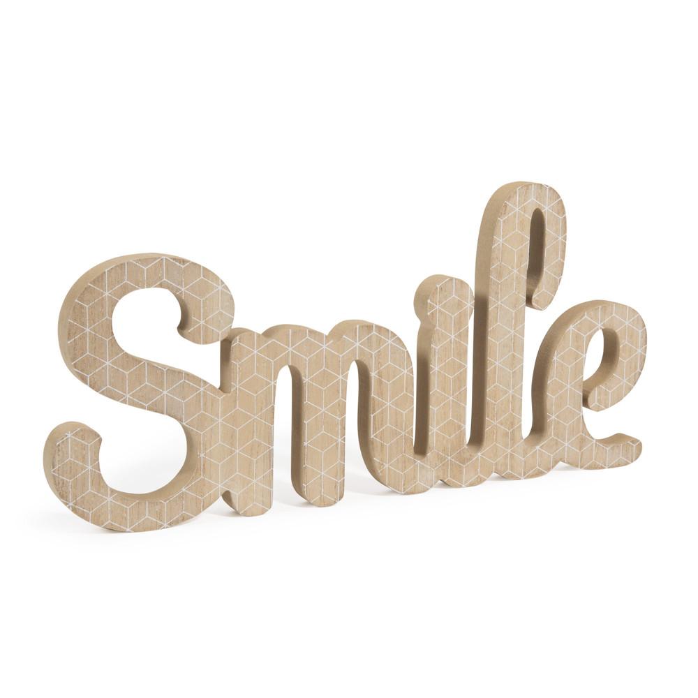 Mot d co smile en bois l 40 cm blackstage maisons du monde for Maison smile