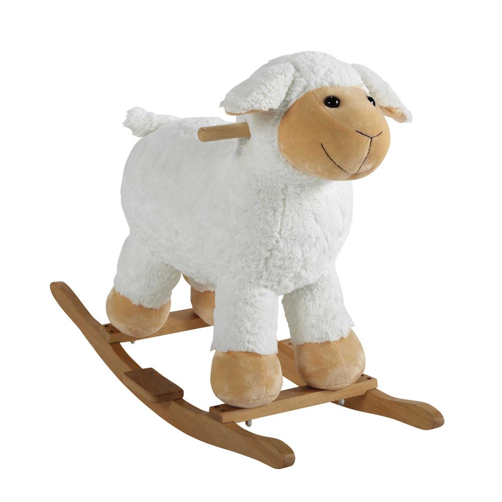 mouton bascule en bois h 60 cm pompon maisons du monde. Black Bedroom Furniture Sets. Home Design Ideas