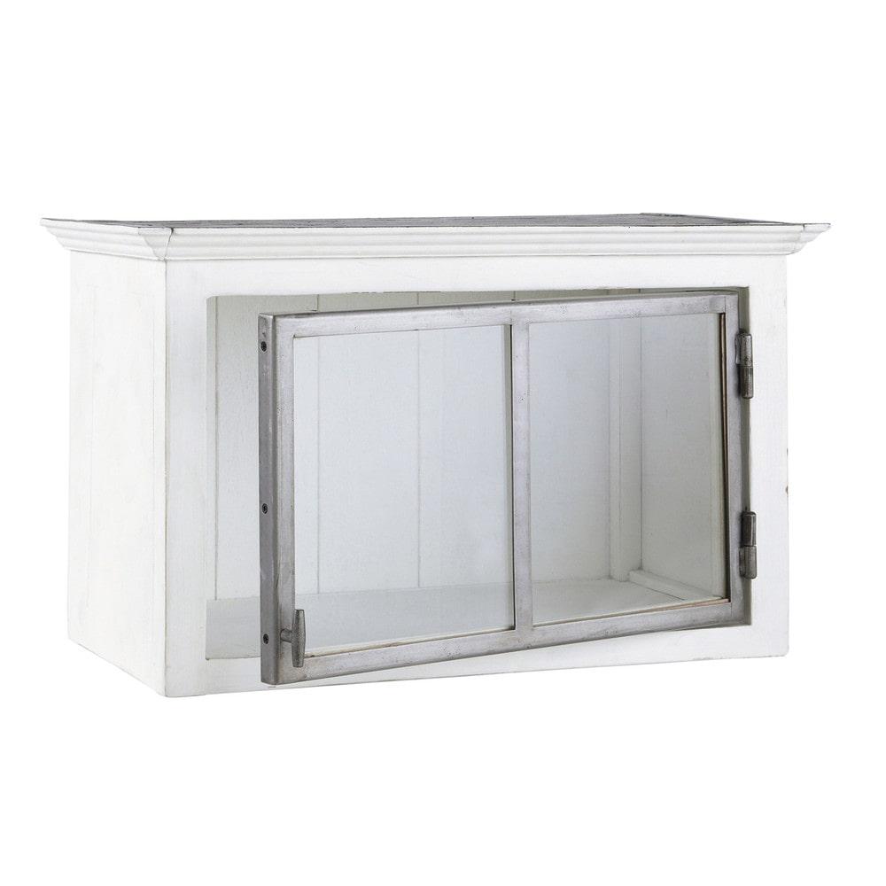 Mueble alto de cocina blanco de madera reciclada apertura for Mueble alto cocina