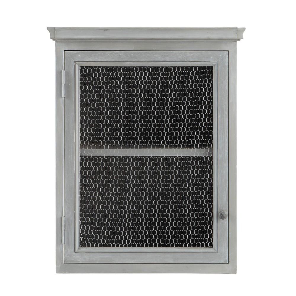 Mueble alto de cocina de hevea gris apertura derecha l 60 for Muebles de cocina 60 cm