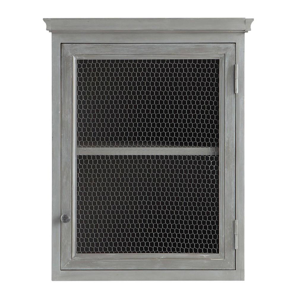 Mueble alto de cocina de hevea gris apertura izquierda L 60 cm Zinc