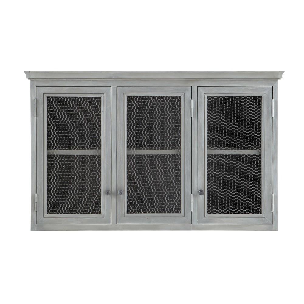 para la cocina › Mueble alto de cocina de hevea gris L 120 cm ZINC