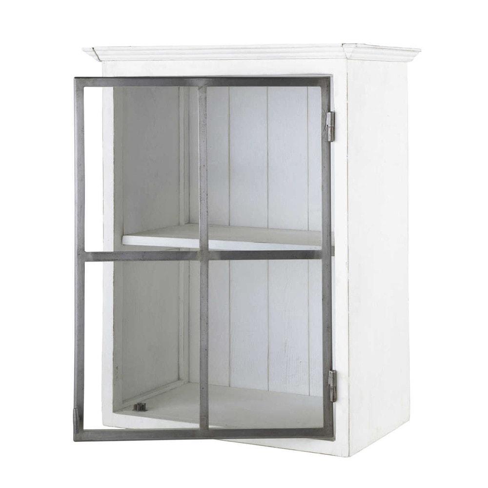 Mueble alto de cocina de madera reciclada apertura for Mueble 50 cm alto