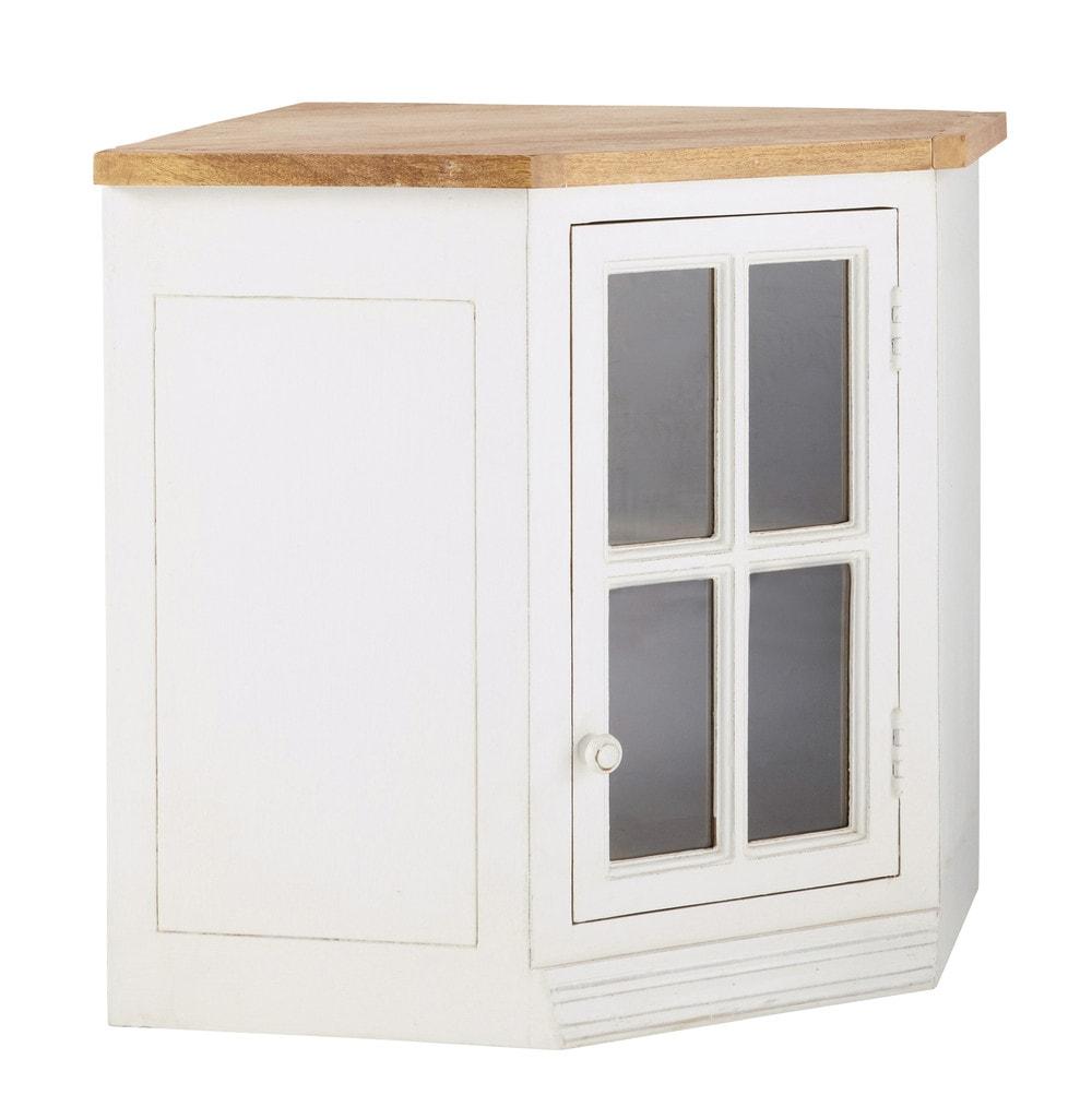 mueble alto de cocina esquinero acristalado de madera de