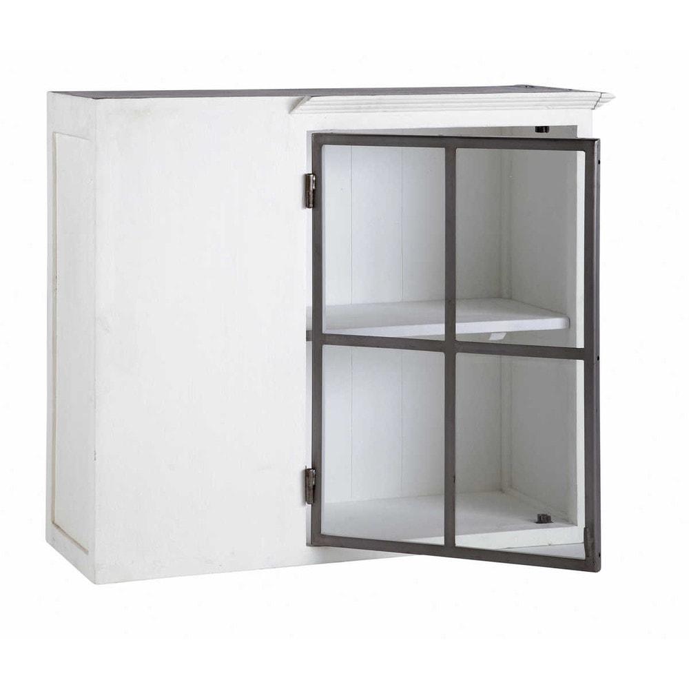 Mueble alto de cocina esquinero blanco de madera reciclada - Mueble alto cocina ikea ...