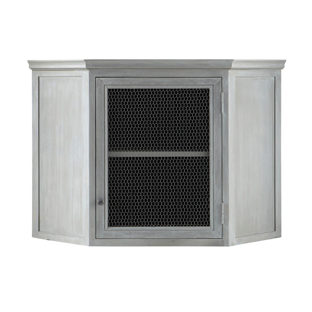 Mueble alto de cocina esquinero de hevea gris l 76 cm zinc for Mueble cocina en l