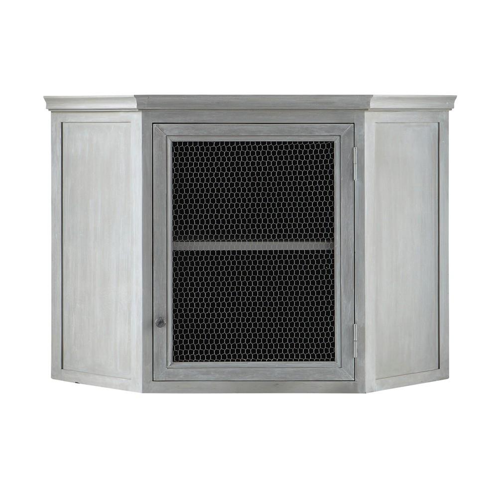 Mueble alto de cocina esquinero de hevea gris l 76 cm zinc for Mueble alto cocina