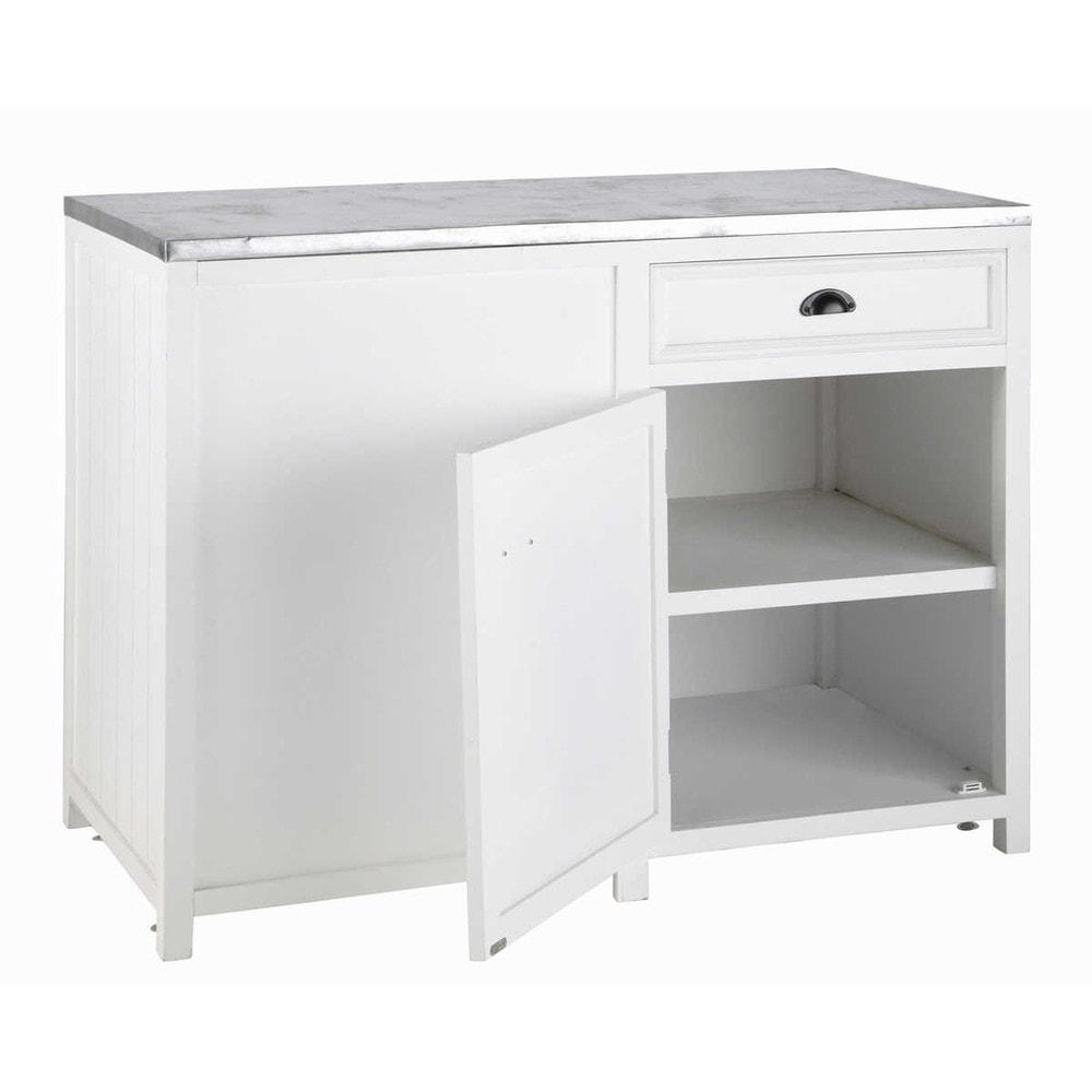 Mueble bajo de cocina blanco de madera l 120 cm newport for Mueble cocina en l