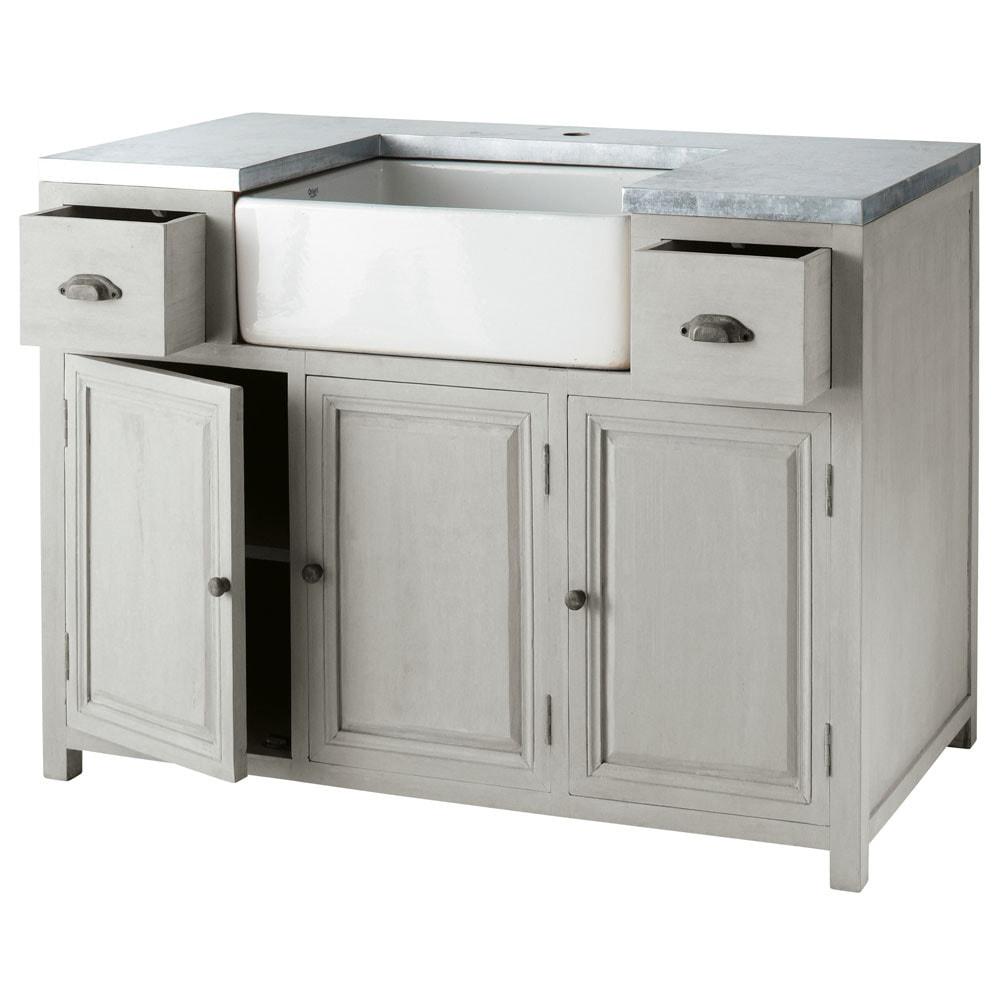 Mueble bajo de cocina con fregadero de hevea gris l 120 cm for Muebles de cocina gris