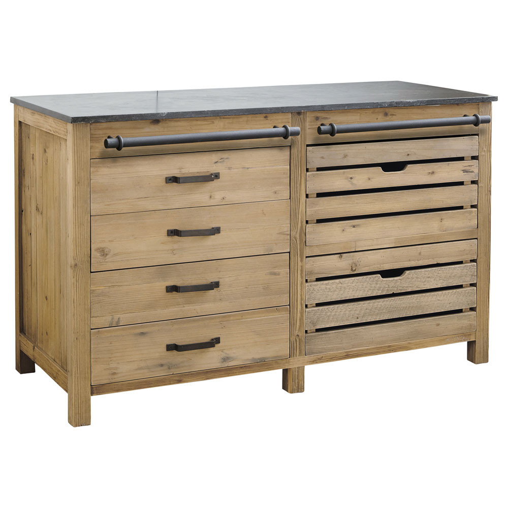 Mueble bajo de cocina de madera reciclada an 140 cm for Muebles de madera reciclada