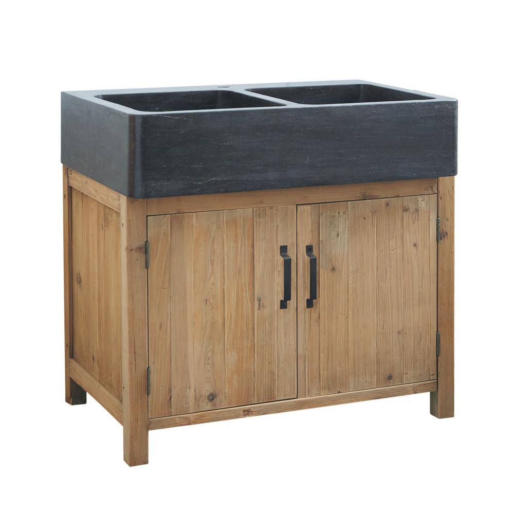 Mueble bajo de cocina de pino reciclado con fregadero an 90 pagnol maisons du monde - Mueble de pino ...