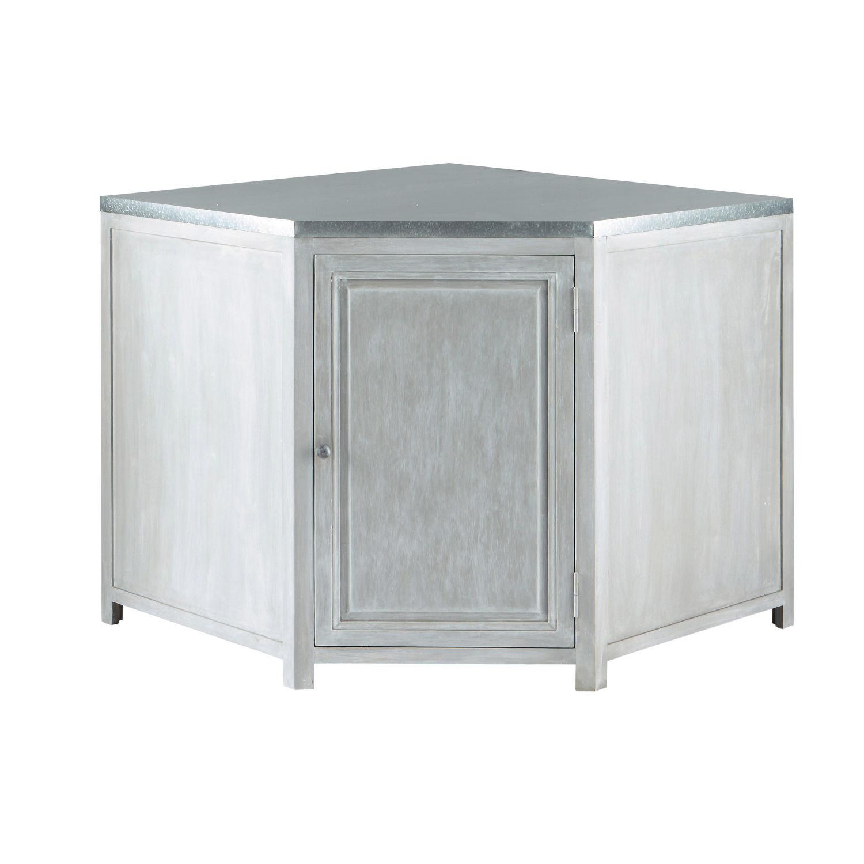 Mueble bajo de cocina esquinero de hevea gris L 99 cm Zinc | Maisons ...