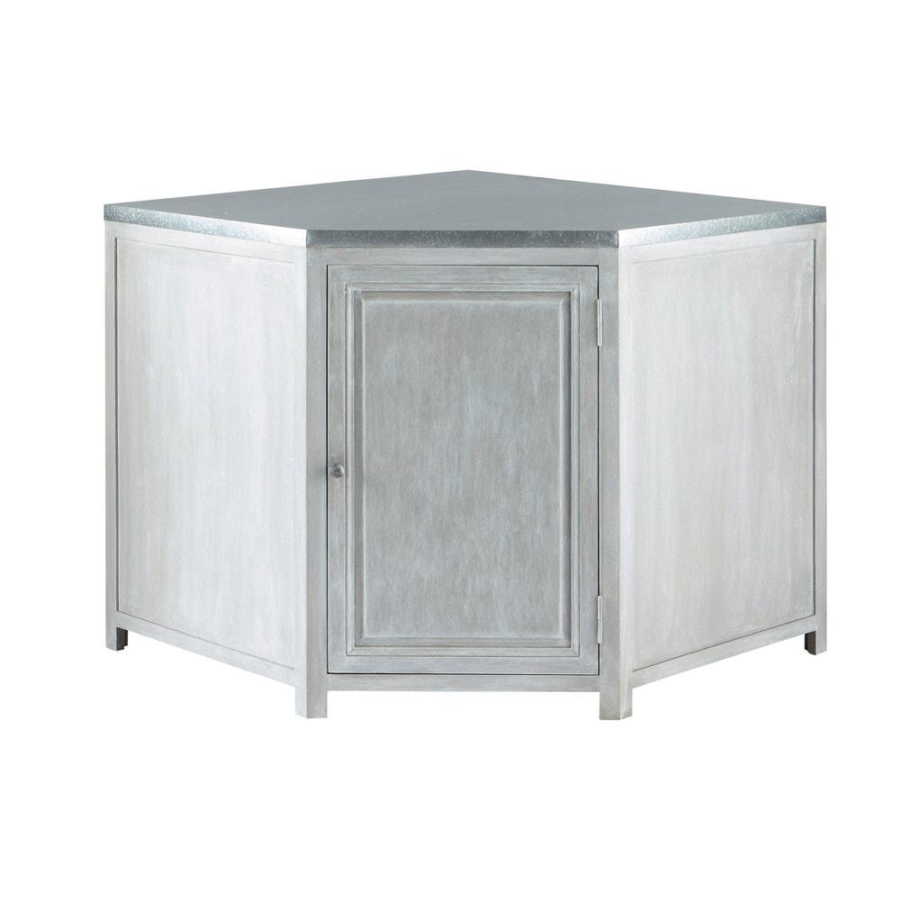 Mueble bajo de cocina esquinero de hevea gris l 99 cm zinc for Muebles de cocina esquineros
