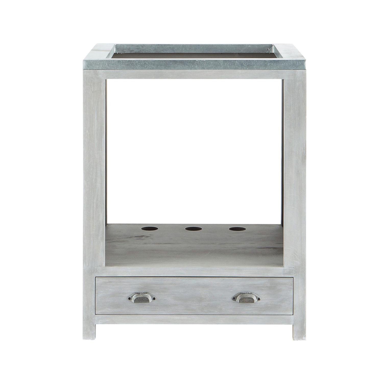 Mueble bajo de cocina para horno de hevea gris L 70 cm Zinc ...