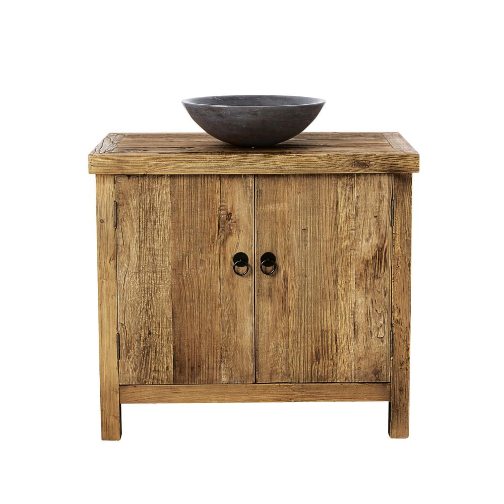 Mueble bajo de cuarto de ba o con 1 lavabo de olmo - Muebles de bano adaptables a lavabo con pie ...