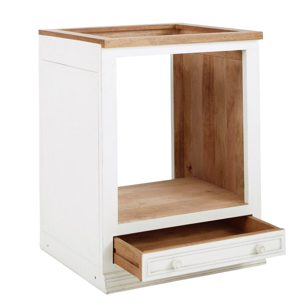 Mueble bajo de horno color marfil de madera de mango an Mueble para horno