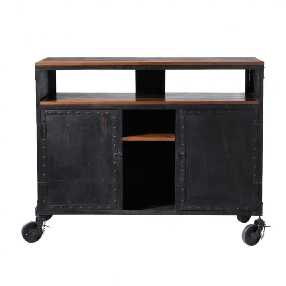 mueble bar con ruedas de metal negro an 127 cm industry maisons du monde. Black Bedroom Furniture Sets. Home Design Ideas