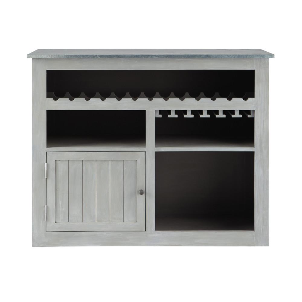 › Mesas y muebles bar › Mueble bar de hevea gris L 132 cm ZINC