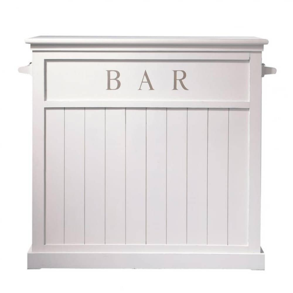 Mueble bar de madera blanco an 120 cm newport maisons for Mueble bar madera