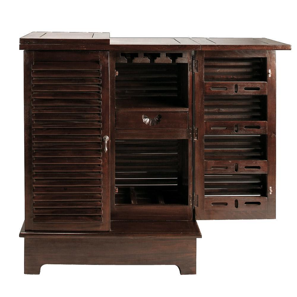Mueble bar de madera maciza de caoba an 80 cm planteur for Mueble bar madera
