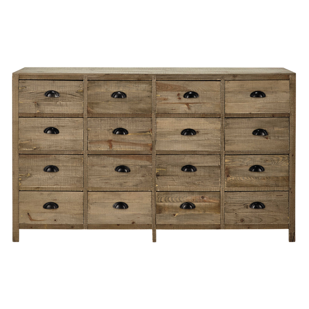 Mueble cajonera de madera an 150 cm woodpecker maisons for Muebles maison du monde segunda mano
