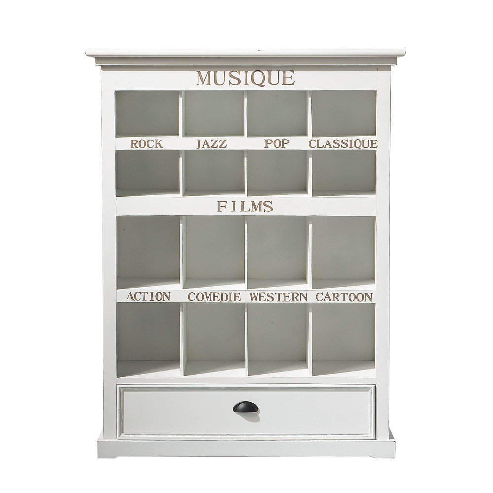 mueble cd dvd de madera blanco al 130 cm newport maisons du monde. Black Bedroom Furniture Sets. Home Design Ideas
