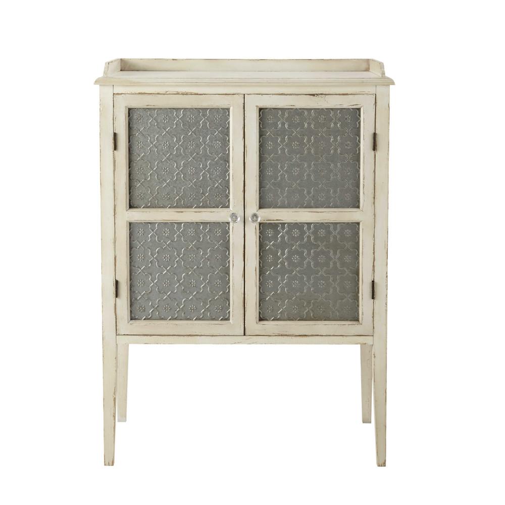 Mueble con puertas de madera blanco roto an 86 cm tins - Puertas de madera en blanco ...