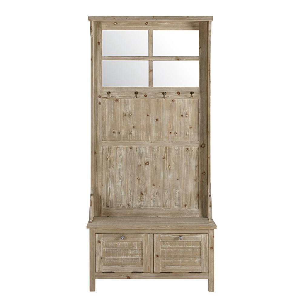 Mueble de entrada con 2 cajones de abeto blanco avoriaz for Mueble zapatero con cajones