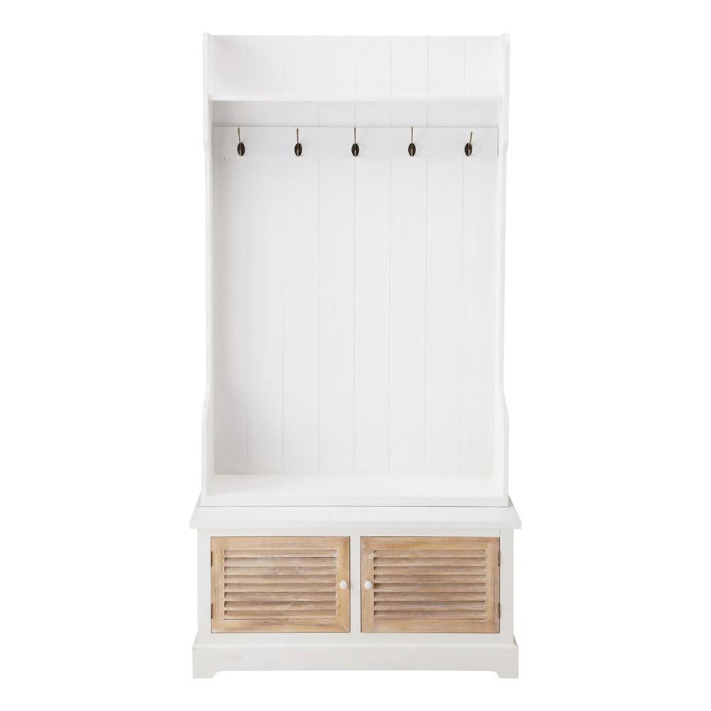 mueble de entrada con colgadores de madera blanco l cm