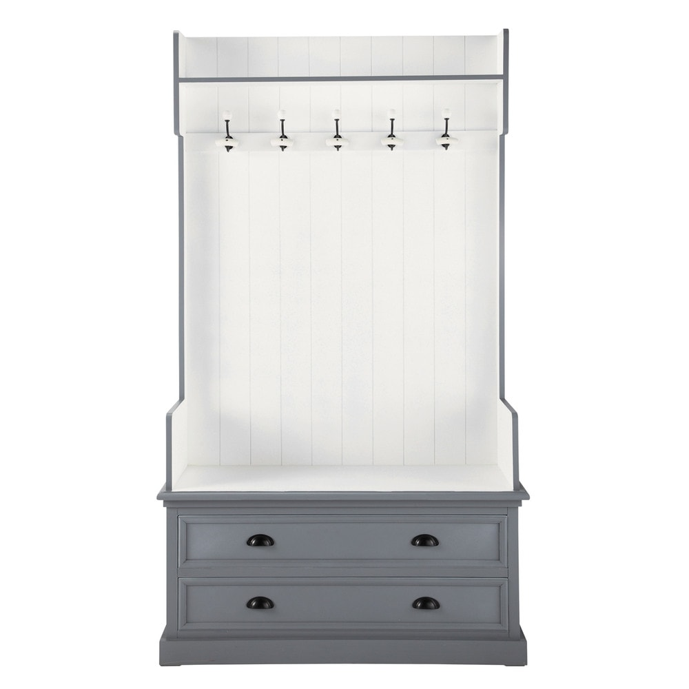 Mueble de entrada con 5 perchas de madera en gris an 110 - Perchas de madera blancas ...