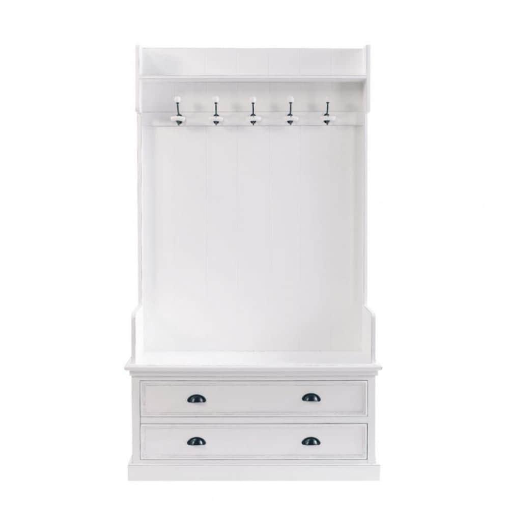 Mueble De Entrada Con 5 Perchas En Blanco An 110 Cm