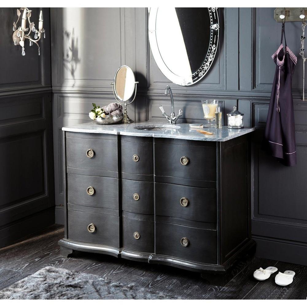 Mueble de lavabo de madera negra y piedra natural l 117 cm for Muebles de bano en madera natural